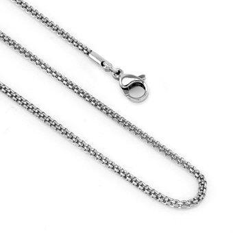 555jewelry สร้อยคอโซ่ถักกลม รุ่น MNC-C002-A (สี Steel)