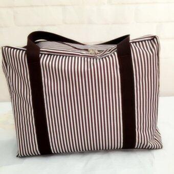 TravelGear24 New Design กระเป๋าเดินทางแบบพับได้ ลายทาง (Navy/สีน้ำเงิน) ล็อกกับกระเป๋าเดินทางได้ Travel Strip Foldable Bag กระเป๋าพับได้ Duffle Bag Folding Luggage (image 4)