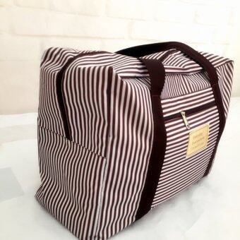 TravelGear24 New Design กระเป๋าเดินทางแบบพับได้ ลายทาง (Navy/สีน้ำเงิน) ล็อกกับกระเป๋าเดินทางได้ Travel Strip Foldable Bag กระเป๋าพับได้ Duffle Bag Folding Luggage (image 3)