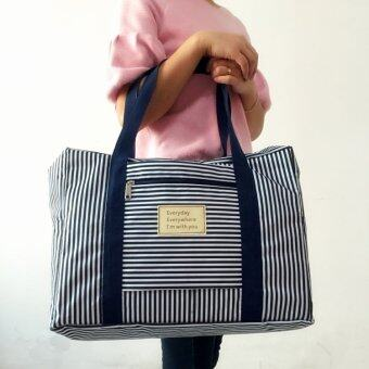 TravelGear24 New Design กระเป๋าเดินทางแบบพับได้ ลายทาง (Navy/สีน้ำเงิน) ล็อกกับกระเป๋าเดินทางได้ Travel Strip Foldable Bag กระเป๋าพับได้ Duffle Bag Folding Luggage (image 1)