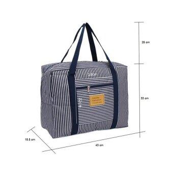 TravelGear24 New Design กระเป๋าเดินทางแบบพับได้ ลายทาง (Navy/สีน้ำเงิน) ล็อกกับกระเป๋าเดินทางได้ Travel Strip Foldable Bag กระเป๋าพับได้ Duffle Bag Folding Luggage (image 2)