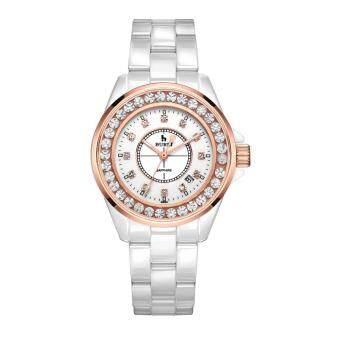 Harga rooroom BUREI treasure shuttle watches female white ceramic Diamond Ladies Watch waterproof luminous fashion Diamond Watch (White)