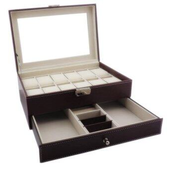 Fancybox กล่องนาฬิกาไม้บุหนัง 2 ชั้น สำหรับนาฬิกา 12 เรือน + ใส่เครื่องประดับ (Brown)