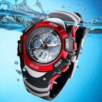 SKMEI ยี่ห้อ 0998 led แบบลูกผู้ชายทหารนักกีฬานาฬิกาควอทซ์มัลติฟังก์ชั่นนาฬิกาข้อมือ (สีแดง)