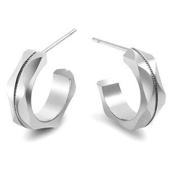 555jewelry ต่างหูก้านเสียบตัว C ทำ Cutting ลายคลื่น รุ่น MNC-ER445-A สี Steel