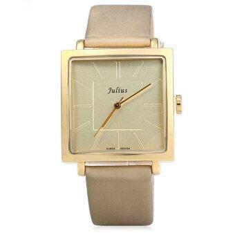 จูเลียสจ๋า-354 สแควร์ควอทซ์หน้าปัดนาฬิกาหนังเพศปกติโกลเด้น