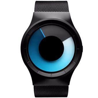 MEGA Concept Unisex Simple Fashion Watch Dial Changing Stainless Mesh Watchband แนวคิดหนุ่มสาวง่ายแฟชั่น นาฬิกาข้อมือ สายนาฬิกาข้อมือสแตนเลสตาข่าย รุ่น MG0028 (Gray/Blue)