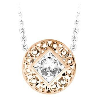 555jewelry จี้วงกลมสองเลเยอร์ประดับด้วย CZ เม็ดใหญ่สีขาว รุ่น MNC-P093-C สี Pink Gold