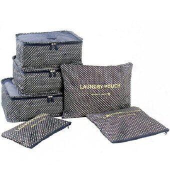 RICHCOCO กระเป๋าจัดระเบียบเซ็ท 6 ใบ กันน้ำ ลายBlue Lotus