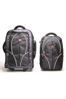 Harga Swiss Gear Double Backpack with Trolley รุ่น KW-026 - สีดำ