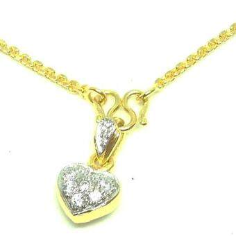 MONO JEWELRYสร้อยคอพร้อมจี้ เงิน 925 หุ้ม ทองคำ แท้ 24K เพชร รัสเซีย 0.82 กะรัต รุ่น Signature Heart Diamond Design M008T