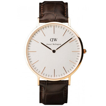Daniel Wellington 0510DW Classy York 36mm นาฬิกาข้อมือ แฟชั่น หน้าปัดสีขาวเปลือกไข่ ผู้หญิง สายหนัง สีน้ำตาลดำ Women Watch - Dark Brown