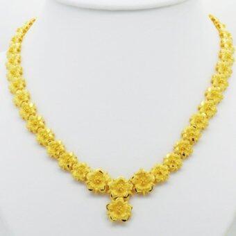 Thai Jewelry สร้อยคอสังวาลย์ทอง ลายดอกไม้รอบคอ งานทองชุบไมครอน ชุบด้วยเศษทองคำแท้ 96.5 % หนัก 3.5 บาท ยาว 18 นิ้ว