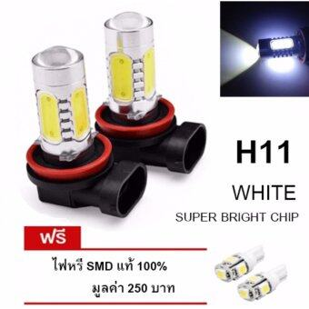 LED หลอดไฟรถยนต์ หลอดไฟตัดหมอก H 11 แสงสีขาว จำนวน 1 คู่ (WHITE) แถมฟรี ไฟหรี่ SMD แท้ 100% มูลค่า 250 บาท