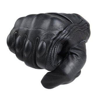 กีฬากลางแจ้งอย่างพวกรถจักรยานยนต์ถุงมือถุงมือไม่มีนิ้วหนังสั้นช่อง L (สีดำ)
