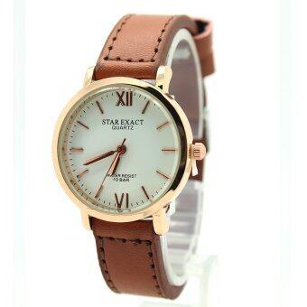 StarExact นาฬิกาผู้หญิง สายหนัง ทรงกลม ตัวเรือน (Pink Gold) หน้าสีเงิน ระบบเข็ม - SE-F002