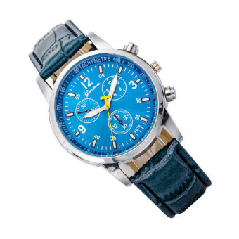 ขายนาฬิกาข้อมือนาฬิการ้อนเจนีวานาฬิกาสายหนังแฟชั่นนาฬิกาควอทซ์คล้ายคลึงเมิน-สีน้ำเงิน