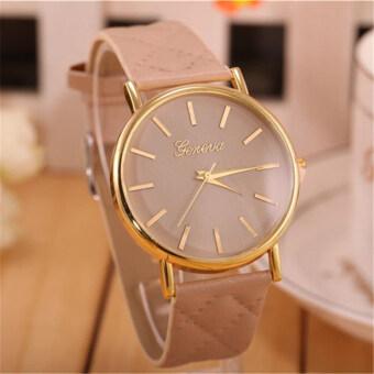 นาฬิกาสายหนังคลาสสิคที่เจนีวาผู้หญิงแฟชั่นนาฬิกาควอทซ์ (สีครีม)
