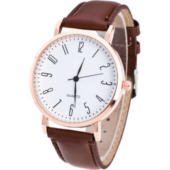 MEGA Quartz Waterproof Arabic Digits หรูหรานาฬิกาข้อมือ สายหนัง กันน้ำ รุ่น MG0026 (Brown)