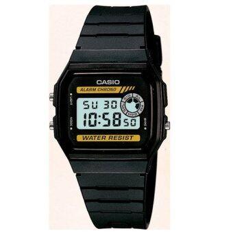 Casio Standard นาฬิกาข้อมือผู้ชาย สีดำ/เหลือง สายเรซิ่น รุ่น F-94WA-9DG