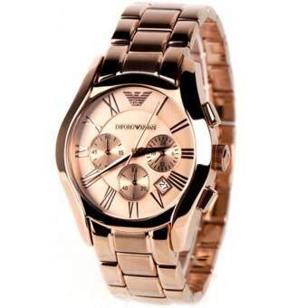 Emporio Armani นาฬิกาข้อมือ AR0365 Marco Rose Gold Chronograph Watch(Black)