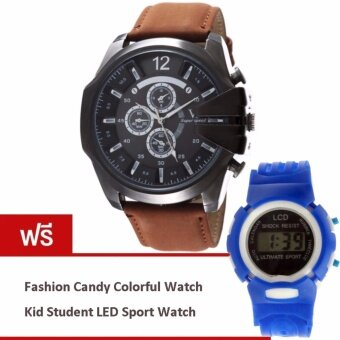 MEGA Luxury Quartz Waterproof Leather Watchband Outdoor Fashion Sport Watch หรูหรานาฬิกาข้อมือ สายหนัง กันน้ำ รุ่น MG0018 (Black/Dark Brown) (ฟรี Fashion Candy Colorful Kid Student Sport LED Watch)