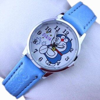 Harga Q Version of the Fashion Cartoon Doraemon Blue Bite of the Cat Belt Children's Student Watch - intl