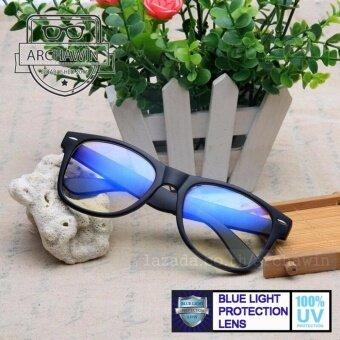 แว่นกรองแสง แว่นตากรองแสง กรอบแว่นตา ทรง Wayfarer Stlye (กรองแสงคอม กรองแสงมือถือ ถนอมสายตา) รุ่น KABUGI - Black