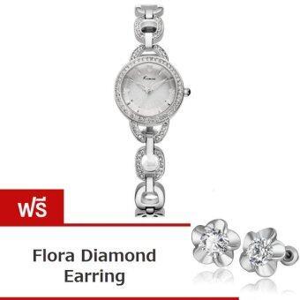 Kimio นาฬิกาข้อมือผู้หญิง สีเงิน สายสแตนเลส รุ่น KW6019 แถมฟรีต่างหู Flora Diamond Earring มูลค่า 199-