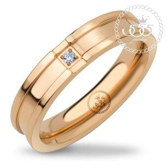 555jewelry แหวนดีไซน์เรียบ สี พิ้งโกลด์ รุ่น MNC-R710-C - แหวนเรียบ แหวนผู้หญิง สแตนเลสสตีล