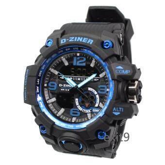 D-ZINER นาฬิกาข้อมือผู้ชาย สายซิลิโคน รุ่นDZ-8119 (ดำ)ขอบน้ำเงิน