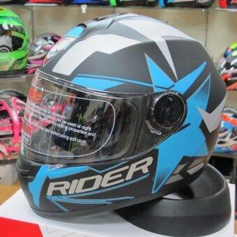 Rider หมวกกันน็อก Vision X สี ฟ้า Star Blue (Big Bike and motorcycle Helmet)