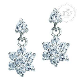 555jewelry เครื่องประดับ ต่างหูสตั๊ดแบบห้อยประดับ CZ ดีไซน์รูปดอกไม้เรียบหรู รุ่น MNC-BER603-A (สีเงิน)