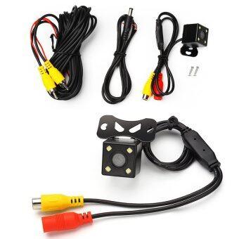 กล้องถอยหลัง กล้องหน้า กล้องมองหลังพร้อมเส้นกะระยะ ติดรถยนต์+ไฟ LED 4 หลอด (สีดำ)