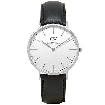 Daniel Wellington 0206DW Classic Sheffield 40mm นาฬิกาข้อมือ แฟชั่น ผู้ชาย สายหนัง สีเงิน Men Watch - Silver Dial