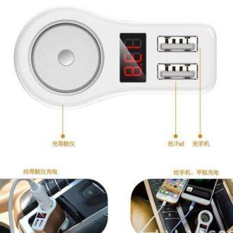 ช่องเสียบที่ชาร์จแบตในรถยนต์ มีจอแสดงวัดโวลต์ DC 12-24V และกระแสขณะชาร์จ USB 2 Port 3.1A และช่องจุดบุหรี่ 1 ช่อง (สีทอง)