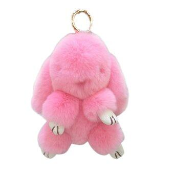 Harga 18Cm Rabbit Furs Keychain Pendant Bag Cute Mini Rabbit Toy Doll Pink
