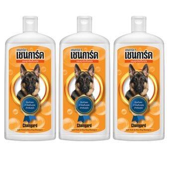 Chaingard Anti-Fleas & Tick Adult Dog Shampoo 1000ml. (3 Bottles) เชนการ์ด แชมพูป้องกัน กำจัดเห็บหมัด สำหรับสุนัขโต 1000ml. (3 ขวด)