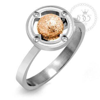 555jewelry แหวนหัวบอลกลม รุ่น MNC-R501-C ( Pink Gold )