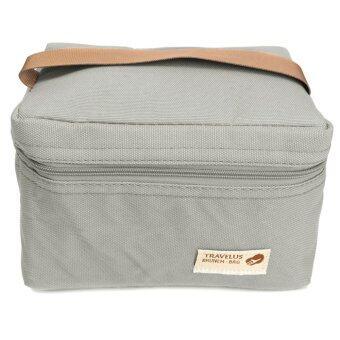 ฉนวนกันความร้อนกันน้ำแบบพกพาอาหารกล่องกระเป๋าปิกนิกท่องเที่ยวตาย Storager สีเทา