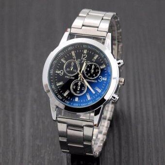 นาฬิกาข้อมือผู้ชาย Geneva Collection รุ่น สายแสตนเลส ดีไซน์หรู เนี๊ยบ เท่ห์ สไตล์เกาหลี นาฬิกาแฟชั่น นาฬิกาเกาหลี นาฬิกาหรู นาฬิกาชาย black