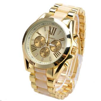 ETOP เสื้อผ้าบุรุษนาฬิกานาฬิกาควอทซ์ครบชุดลำลองสตรีเหล็กนาฬิกาข้อมือหญิงทองหมุนนาฬิกาโลหะผสม (ขาว)