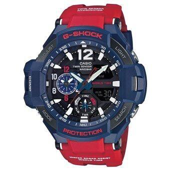 Casio G-Shock นาฬิกาข้อมือผู้ชายสาย เรซิ่นสีแดง รุ่น GA-1100-2A (Blue/Red) / ประกัน CMG