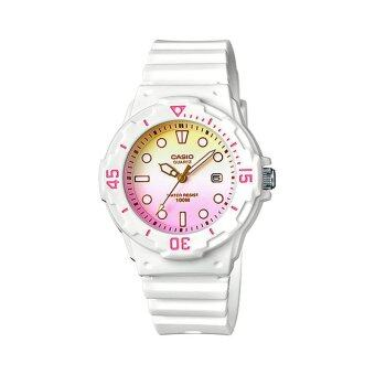 Casio Standard นาฬิกาข้อมือผู้หญิง สายเรซิ่น รุ่น LRW-200H-4E2VDR (Yellow/Pink)