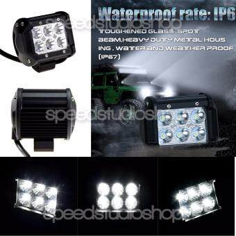 Speed Studio ไฟตัดหมอก LED 6 จุด ไฟสปอร์ตไลท์ 1260ลูเมน 18 วัตต์ IP67 กันน้ำ สำหรับพาหนะทุกชนิด/รถยนต์/รถกระบะ/รถเอทีวี/เรือ/รถJeep/มอเตอร์ไซค์/บิ๊กไบค์1 ชิ้น