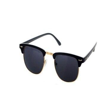 ครึ่งทองสไตล์เรโทรวินเทจแว่นตากันแดดกรอบเพศแว่นตากันแดดสีดำ