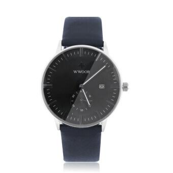 WWOOR ลักนาฬิกาของผู้ชายแต่งตัวคล้ายคลึงหนังเทียมผลึกนาฬิกาข้อมือ