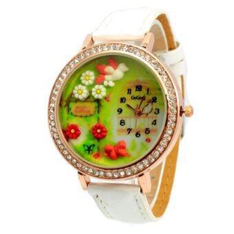 นาฬิกาข้อมือสตรีดินปั่นญี่ปุ่น สีขาว สายหนัง