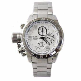 ALBA นาฬิกาข้อมือผู้ชาย สีขาว/สีเงิน สายแสตนเลส Commando Chronograph รุ่น AF8T87X1
