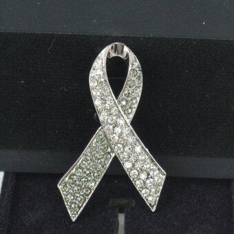 Pearl Jewelry เข็มกลัดโบว์เพชร ขาว-เทา สวารอฟสกี้ S2 งานช่างไทย